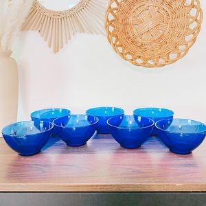 "Set of 7 Arcoroc France Cobalt Blue Glass 5"" Bowls"